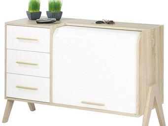 WHITE LABEL - meuble d\'entrée à rideau, 3 tiroirs - arkos n°4 -