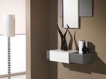 WHITE LABEL - meuble d\'entrée cendre + miroir - imbro - l 90 x -