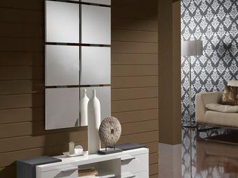 WHITE LABEL - meuble d\'entrée blanc/cendre + miroir - nave - l -