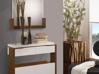WHITE LABEL - meuble d\'entrée blanc/noyer + miroir - jungo - l -