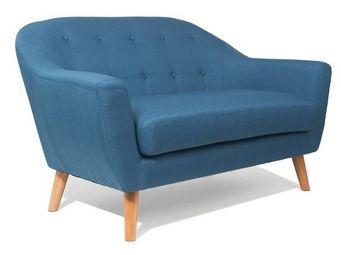 WHITE LABEL - canapé scandinave utmärkt 2 places bleu azur - 2 Seater Sofa