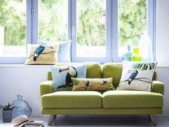 Art De Lys - toucan bec bleu, jungle fond jaune - Square Cushion