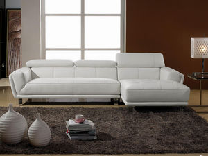 WHITE LABEL - canapé cuir angle celine - Adjustable Sofa