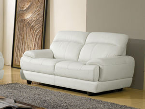 WHITE LABEL - canapé cuir 2 places lesko - 2 Seater Sofa