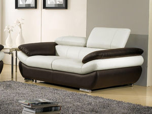 WHITE LABEL - canapé cuir 2 places rosy - 2 Seater Sofa
