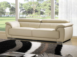 WHITE LABEL - canapé cuir 3 places marjorie - 3 Seater Sofa