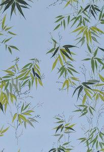 ISIDORE LEROY - bambous bleu - Wallpaper