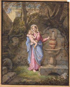 Galerie Emeric Hahn - vierge et enfant à la fontaine - Gouache