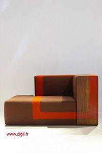 Cécile Mairet - méridienne rouge - Armchair And Floor Cushion