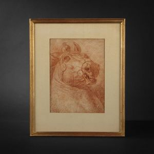 Expertissim - ecole francaise du xviiie siècle. etude de cheval  - Sanguine Painting