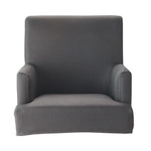 MAISONS DU MONDE - housse de fauteuil de bar taupe lin lounge - Armchair Cover