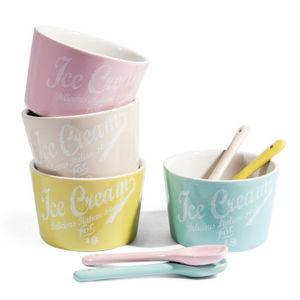 Maisons du monde - coffret 4 pots de glace et cuillères restaurant - Ice Cream Bowl