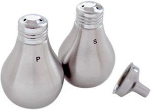 Tellier Gobel - salière et poivrière ampoule en inox brossé avec e - Saltcellar And Pepperpot