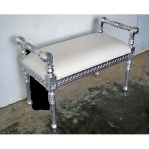 DECO PRIVE - bout de lit betina 1 place argent et blanc - Bed Bench