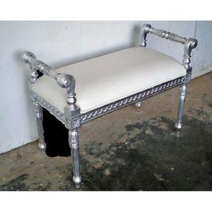 DECO PRIVE - bout de lit betina 1 place argent et blanc - Bed Bench
