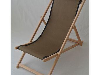 Les Toiles Du Soleil - chilienne uni taupe-bord noir - Deck Chair