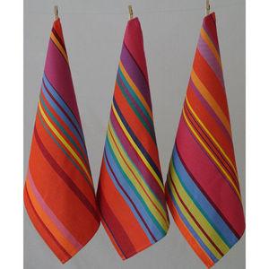 Les Toiles Du Soleil - torchon bonbons plume capucine - Tea Towel