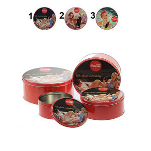 WHITE LABEL - lot de 4 boîtes à cookies coca-cola pinup 2 - Biscuit Tin