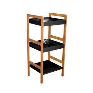 WHITE LABEL - etagère 3 niveaux en bambou et bois laqué à monter - Bathroom Shelf