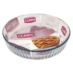 WHITE LABEL - plat à tarte cannelé en verre création saint-gobai - Pie Plate