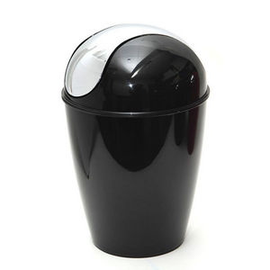 WHITE LABEL - poubelle de sol avec couvercle à battant chromé - Bathroom Dustbin