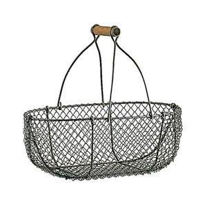 Aubry-Gaspard - 2 paniers en grillage vieilli et bois 31x20x22cm e - Wire Egg Basket