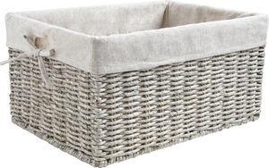 Aubry-Gaspard - corbeille de rangement en maïs gris et jute 34x26x - Storage Basket