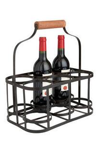 Aubry-Gaspard - panier de rangement 6 bouteilles en métal et bois  - Wine Bottle Tote