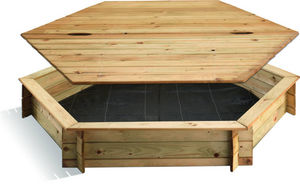 JARDIPOLYS - bac à sable hexagonal en pin avec couvercle 180x18 - Sandbox