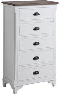 Aubry-Gaspard - commode camelia 5 tiroirs en pin et medium 59,5x32 - Bathroom Single Storage Cabinet