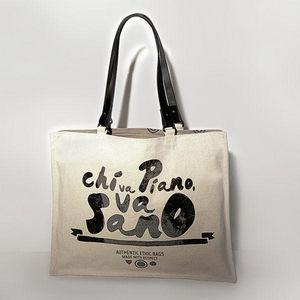 JOVENS - sac en toile et cuir chi va piano va sano - Handbag
