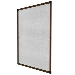 WHITE LABEL - moustiquaire pour fenêtre cadre fixe en aluminium 80x100 cm brun - Window Fitted Mosquito Screen