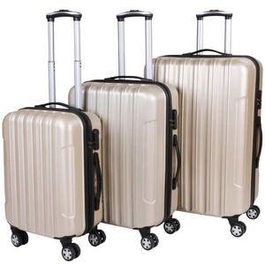 WHITE LABEL - lot de 3 valises bagage rigide beige - Suitcase With Wheels