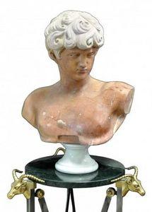 Demeure et Jardin - buste ephebe grec marbre fleur de pêche - Bust Sculpture