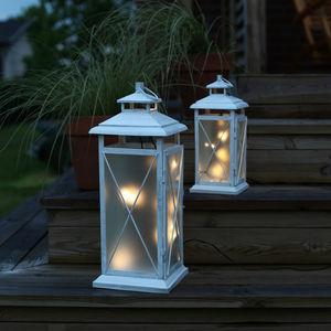 Best Season - stallis - lanterne led extérieur métal patiné blan - Outdoor Lantern