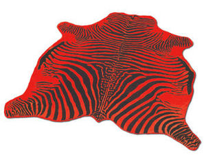 WHITE LABEL - tapis en peau de vache rouge imprimé zébré noir - Zebra Skin