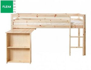 FLEXA - lit mi haut flexa avec bureau en pin vernis nature - Mezzanine Bed
