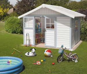 Grosfillex - abri de jardin déco blanc gris bleu + kit d'ancra - Resin Garden Shed