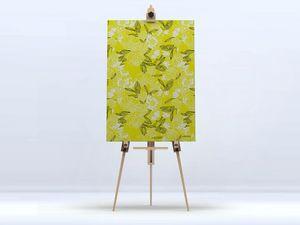 la Magie dans l'Image - toile pivoines moutarde - Digital Wall Coverings