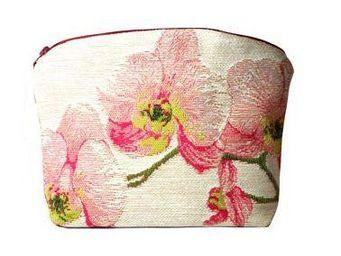 Art De Lys - orchidées roses, fond blanc - Makeup Bag