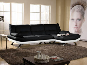 WHITE LABEL - canapé cuir angle miranda - Adjustable Sofa