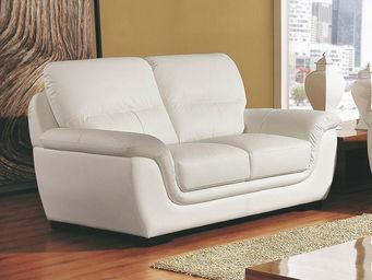 WHITE LABEL - canapé cuir 2 places kalmia - 2 Seater Sofa