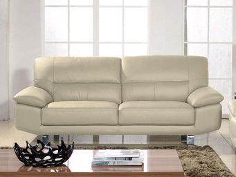 WHITE LABEL - canapé cuir 3 places eva - 3 Seater Sofa