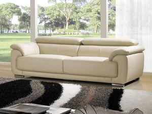 WHITE LABEL - canapé cuir 3 places marjorie - 3 Seater Sofa