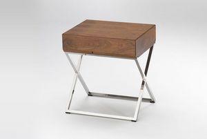 Marais International - chevet plaque noyer sur pied inox - Bedside Table