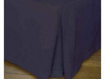 Liou - cache-sommier plis creux prune grisé - Bedskirt