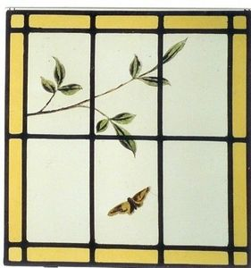L'Antiquaire du Vitrail - papillon et feuiilage - Stained Glass