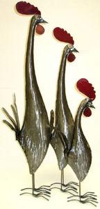 Artisadar - set de 3 coqs en métal recyclé - Rooster
