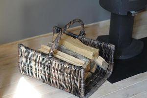 Aubry-Gaspard - panier à bûches en poelet noir 60x46cm - Log Carrier