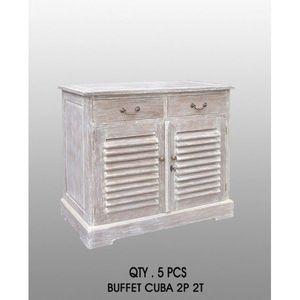 DECO PRIVE - buffet ceruse modele kissi cuba - 2 tiroirs 2 port - Low Chest